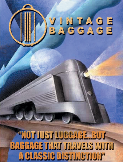 Vintage Baggage Train Image with Logo and Slogan